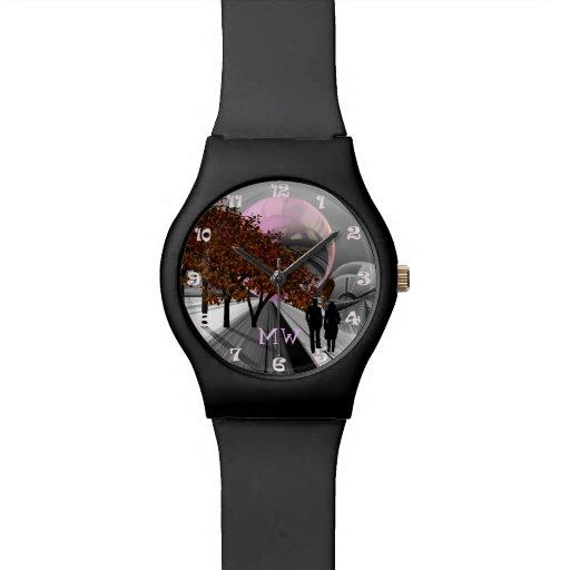 Reloj de encargo romántico futurista con monograma