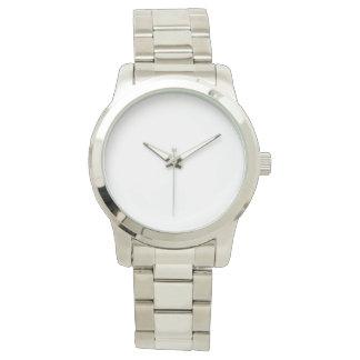 Reloj de gran tamaño de plata unisex de la pulsera