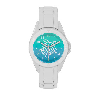 Reloj de la acuarela del océano de la tortuga de