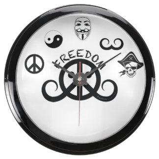Reloj de la aguamarina de la libertad (fishbowl 10 relojes acuario