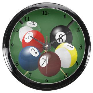 Reloj de la aguamarina de la piscina/de los billar reloj acuario
