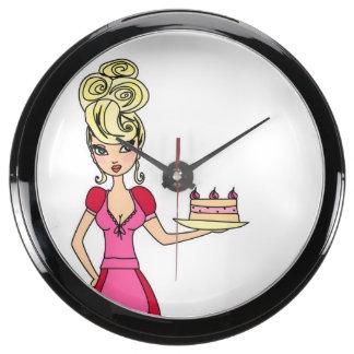 Reloj de la aguamarina de la torta de la porción d relojes aqua clock