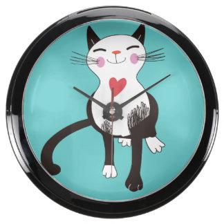 Reloj de la aguamarina de los amantes del gato relojes aqua clock