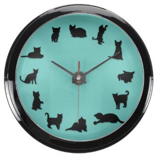 Reloj de la aguamarina del en punto del gato reloj aqua clock