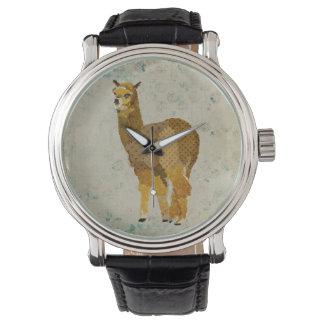 Reloj de la alpaca del diamante del oro del