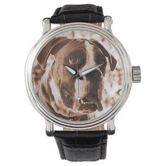 Reloj de la banda del cuero del perro del boxeador