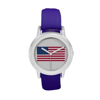 Reloj de la bandera americana de los niños (correa