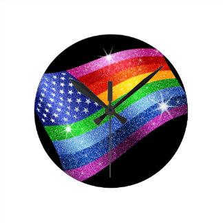 Reloj de la bandera americana del arco iris del br
