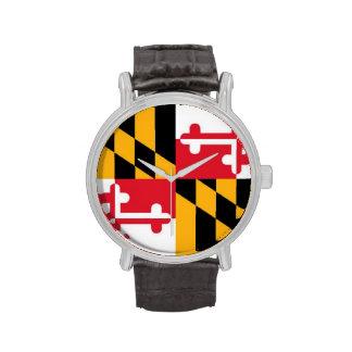 Reloj de la bandera de Maryland (banda de cuero)