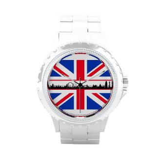 Reloj de la bandera de Union Jack del ojo de