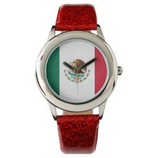 Reloj de la bandera mexicana de las señoras
