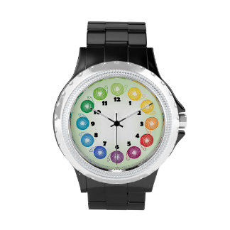 Reloj de la bola del hilado del arco iris