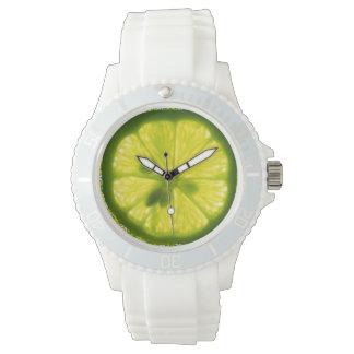 Reloj de la cara de la cal del limón