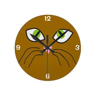 Reloj de la cara del gato de los amantes del gato