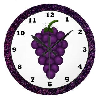 Reloj de la cocina de la uva del dibujo animado
