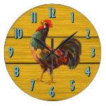 Reloj de la cocina del arte del vintage del gallo