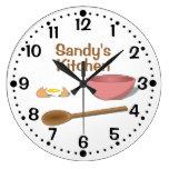 Reloj de la cocina del bol grande y de la cuchara