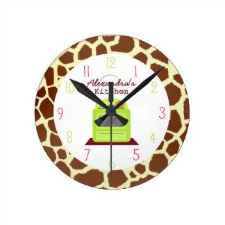 Reloj de la cocina del estampado de girafa