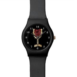 Reloj de la copa de vino del corcho