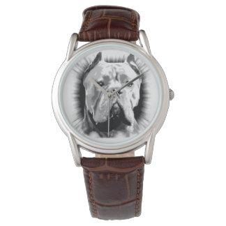 Reloj de la correa de cuero de Brown del perro de