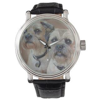 Reloj de la correa de cuero de Terrier de frontera
