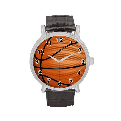 Reloj de la correa de cuero del baloncesto