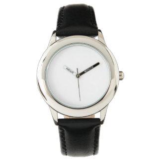 Reloj de la correa de cuero del negro del acero