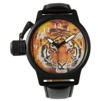 Reloj de la correa de cuero del protector de la