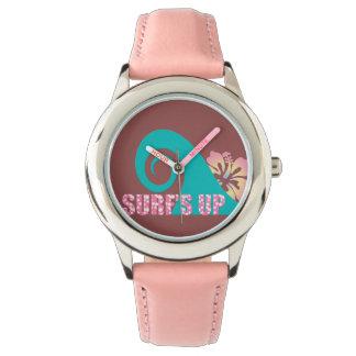 Reloj de la correa de cuero del rosa del acero
