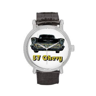 Reloj de la correa de cuero del vintage de 57 Chev