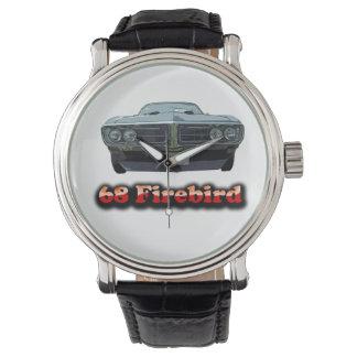 Reloj de la correa de cuero del vintage de 68