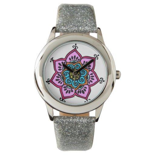Reloj de la correa del brillo de la mandala de