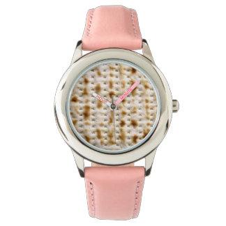 Reloj de la correa del rosa del Matzoh de Mitzvah