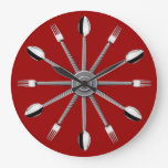 Reloj de la cuchara y de pared de la cocina de la