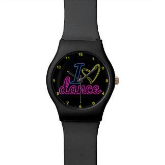 Reloj de la danza del amor del neón I (negro o