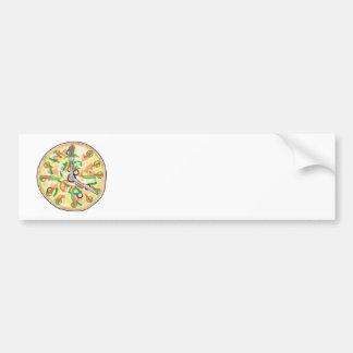 Reloj de la empanada de pizza etiqueta de parachoque