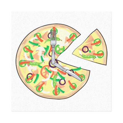 Reloj de la empanada de pizza lona estirada galerías