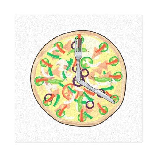 Reloj de la empanada de pizza lona envuelta para galerías
