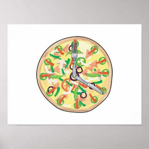 Reloj de la empanada de pizza poster
