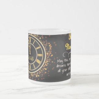 Reloj de la Feliz Año Nuevo Taza Cristal Mate