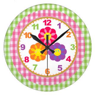 Reloj de la flor de la guinga de los chicas con nú