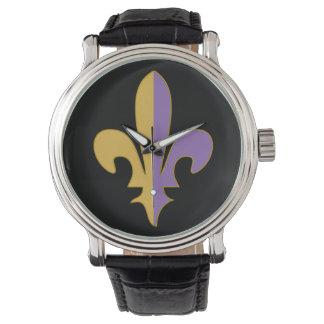 Reloj de la flor de lis de la púrpura y del oro