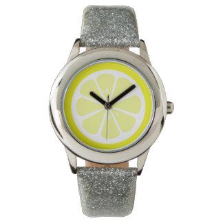 Reloj de la fruta cítrica de la rebanada del limón