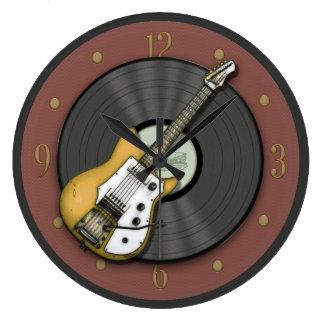 Reloj de la guitarra del vintage y de pared del