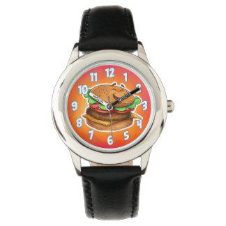 Reloj de la hamburguesa del dibujo animado