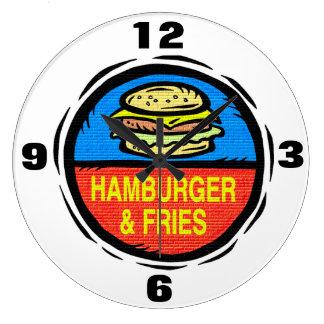 Reloj de la hamburguesa y de pared de las fritadas