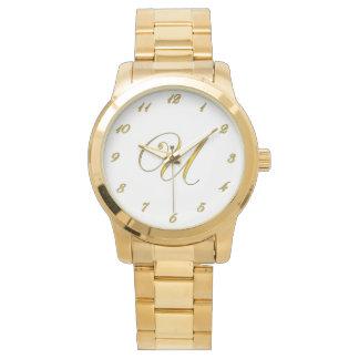 Reloj de la inicial U del monograma del oro con