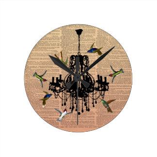 Reloj de la lámpara del colibrí de la página del l