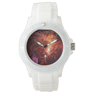 Reloj de la llama, correa deportiva, blanca
