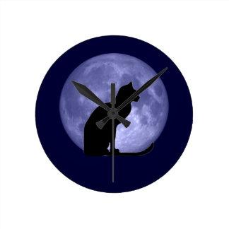Reloj de la luna azul del gato negro